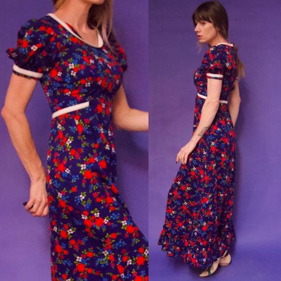 Vintage 1960's/70's MOD Floral Hippie NEON Maxi Dr