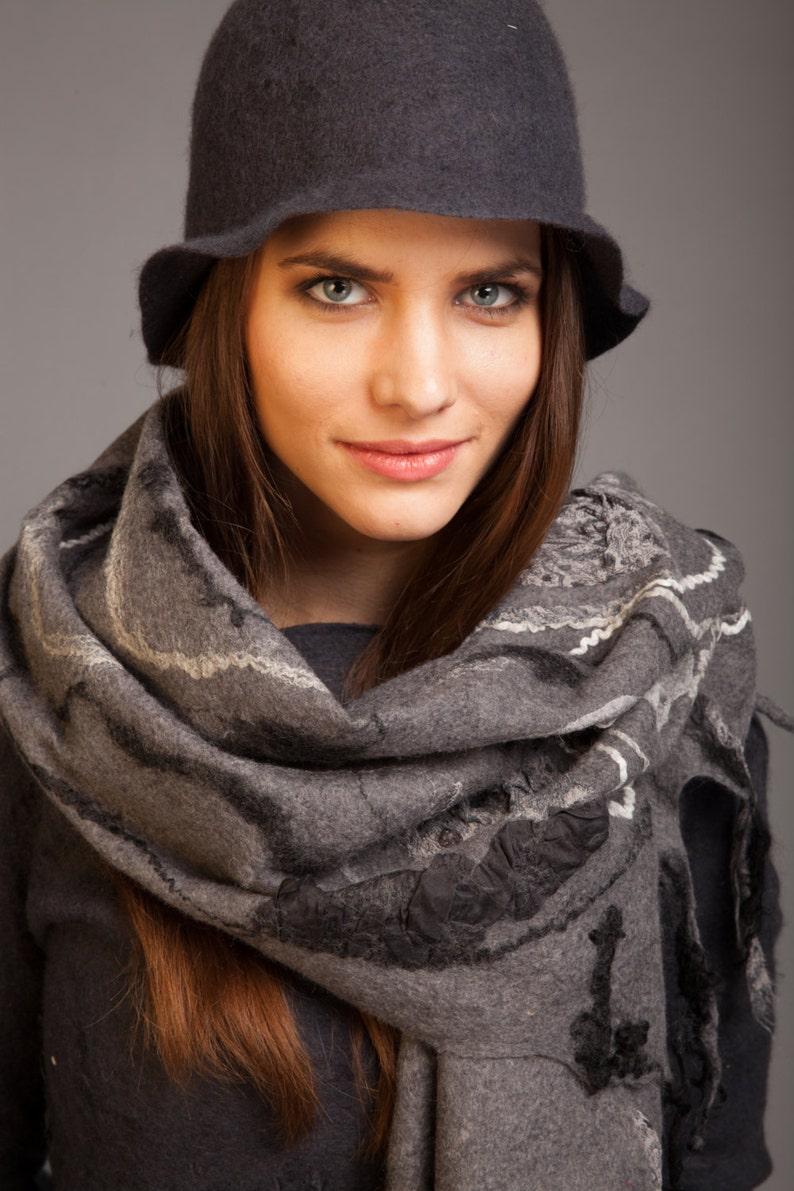 Fancy shawl real silk eco shades of gray,sale wearalbe art chtisymas gift idea australian merino wool unique felt graphite scarf