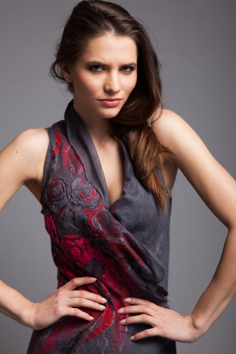 made of silk chifon and merino wool gray and red all sizes made to order Big sale Fancy Vest art fibre gift idea,