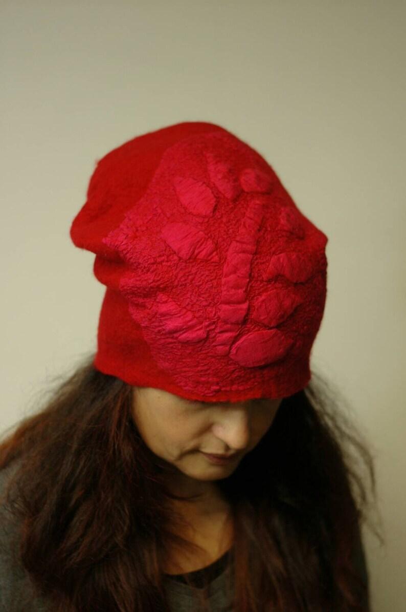 Warm Fancy Hat Red Silk Hand Felted Merino Wool soft wool wearable art christmas gift idea