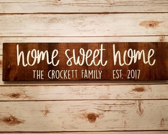Home Sweet Home Custom Family Name and Year Sign