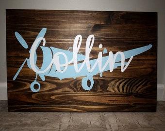 Custom Airplane Wood Painted Nursery Sign