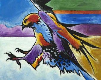 Hawk Attack, Acrylic Painting, Giclée Print