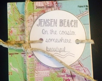 Jensen Beach Florida Map.Florida Map Coasters Etsy