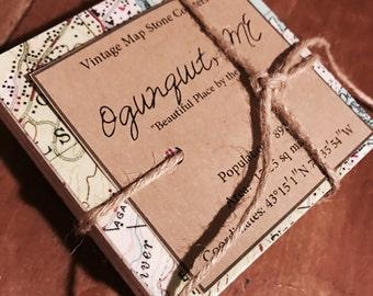 Ogunquit Maine Vintage Map Stone Coaster Set - Free Shipping