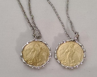 Guardian Angel of God Prayer Coin Pendant Necklace - Rear View Mirror Hanger - Graduation - Religious Catholic Metal Coin