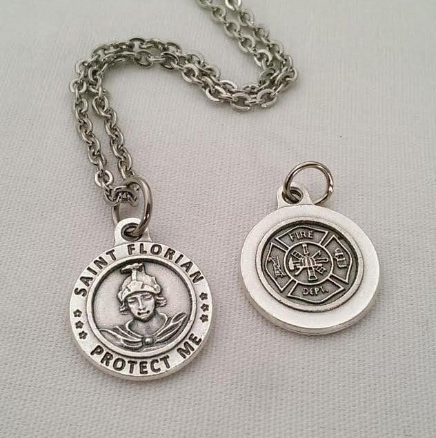 St Florian Necklace: Fire Fighter Patron St. Florian Maltese Cross Medal