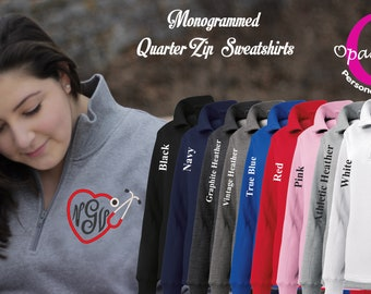 1c9e9253a76 Monogrammed Ladies quarter zip up sweatshirt, embroidered with nursing  stethoscope and with your monogram monogram available in plus sizes