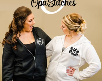 Embroidered Ladies Monogrammed full zip hoodies, personalized with your monogram, bridesmaid, birthday, Christmas gifts, avail in plus size