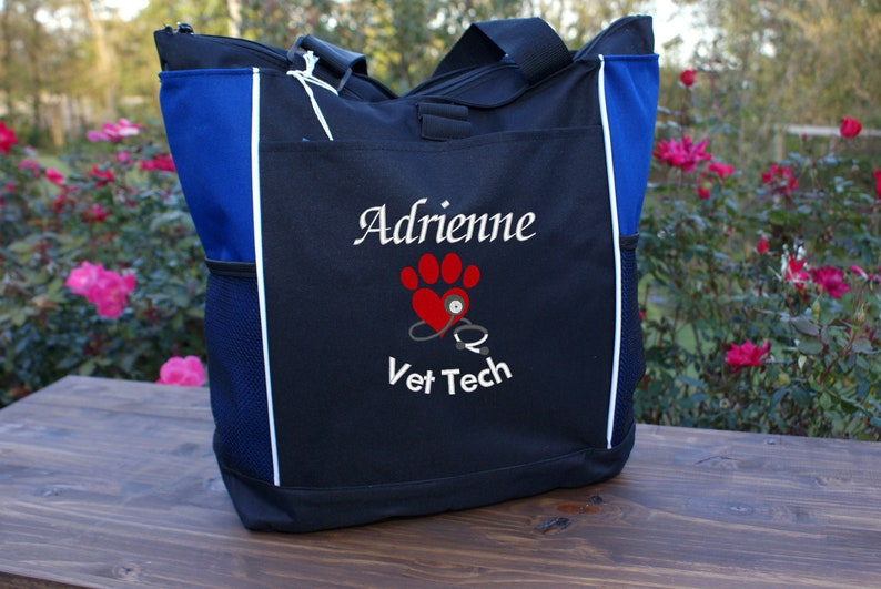 Personalized Vet Tech Tote embroidered with a paw heart stethoscope and name and title vet office staff veterinarian gift idea DMV gifts