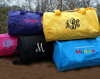 Personalized duffle Bag Monogram weekend get away tote luggage Travel vacation bag cheerleader tote dance solid color, fully embroidered