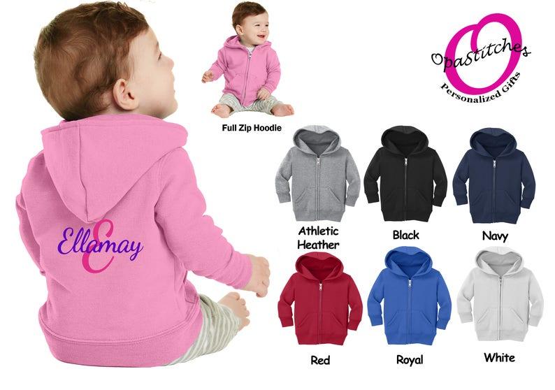 8bfad66c8 Monogrammed toddler Zip Up Hoodie Personalized Zip Up Jacket