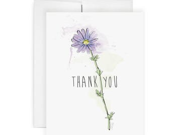 Thank You Daisy - Greeting Card, Flower Illustration, Thank You Card, Painted Card,