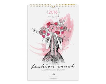 SALE 2018 Fashion Crush Wall Calendar - Fashion Illustration, Wall Decor, Monthly Organizer, Art for Home or Office, Daily to do