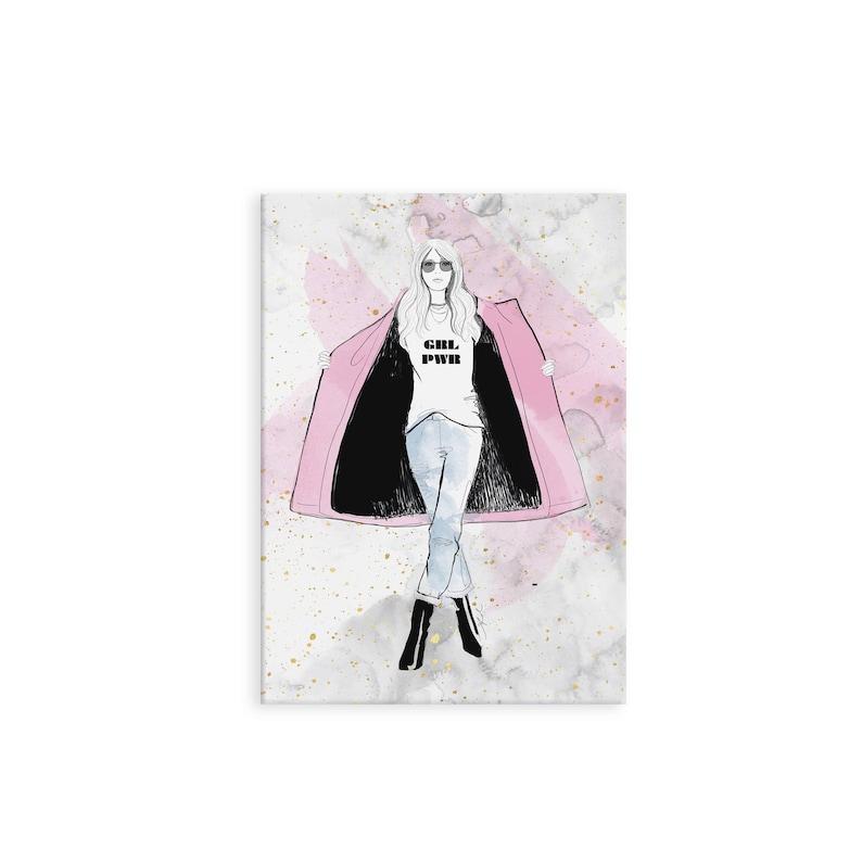 Grl Pwr Mini Notebook  Stationery Fashion Illustration image 0