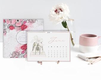 SALE 2018 Shoeista Desk Calendar - Fashion Illustration, Shoe Illustration, Monthly Dates, Office Supplies, Desk Decor