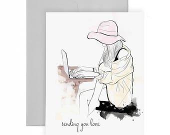 Sending You Love - Greeting Card, Fashion Illustration, Miss You Card, Modern Card, Fashion Drawing, Stationery