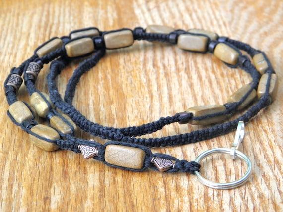 bone Macrame Lanyard in dark brown hemp with polished wood bronze and animal-shaped beads jade