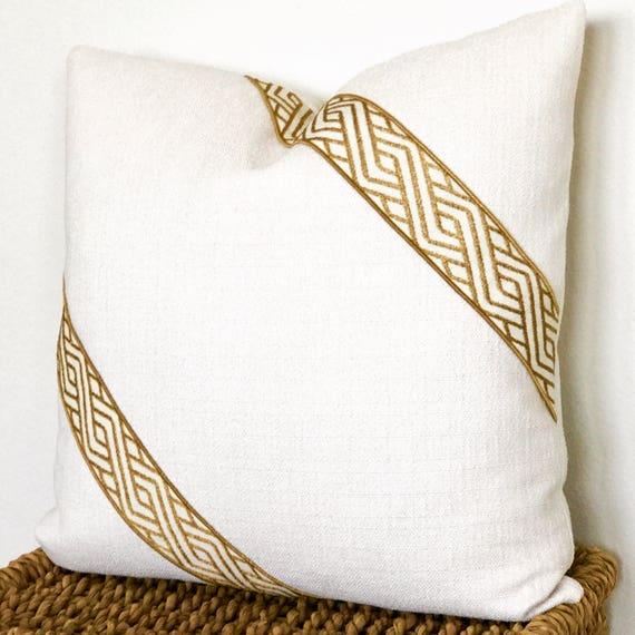 Coussin blanc, or oreiller, coussins Design, coussin crème, coussins Beige, coussin Ivoire, fermeture à glissière, grand jeter oreillers