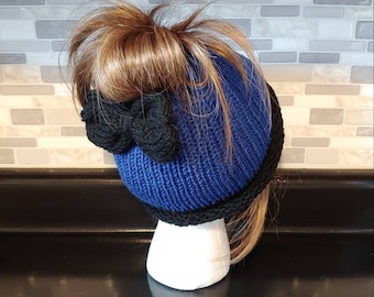 Lovely periwinkle blue messy bunponytail hat