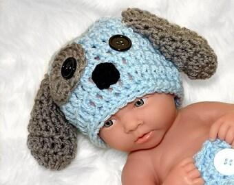 Newborn Puppy Hat Baby Boy Puppy Hat, Baby Boy Crochet Newborn boy photo prop Newborn photo prop boy newborn boy photo outfit hat