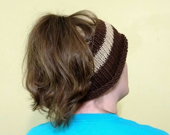 Messy Bun Hat Crochet Knitted Brown Tan Poneytail Hat