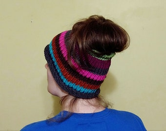 Messy Bun Hat Crochet Knitted Multi Color
