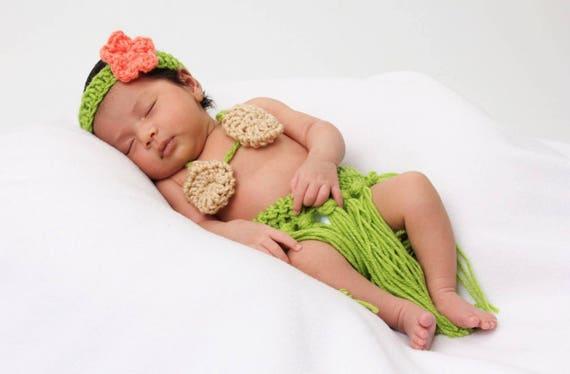 Newborn Girl Photo Outfit Coral Hawaiian baby girl coral  d1f9556b2ca