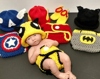 Newborn Boy Photo Outfit Captain America Baby Boy Outfit Newborn Boy Wolverine Costume Photo Prop Superhero Baby Crochet Outfit