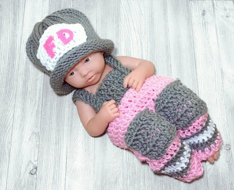 d825b43fa040 Girls Firefighter Costume Knitted Firefighter Outfit Newborn | Etsy