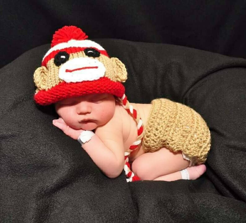7b7d7b16538 Baby Boy Monkey Outfit Sock Monkey Newborn Crochet Monkey