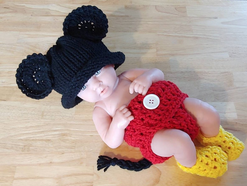 a76dd8b5da5 Disney Baby Outfit Newborn Crochet Mickey Mouse Outfit Baby