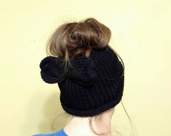 Messy Bun Hat Crochet Knitted Black with bow