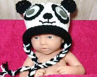 Crochet Panda Hat Newborn Crochet Baby Girl Panda Hat Crochet Panda PANDA BEAR Baby Hat Panda photo prop