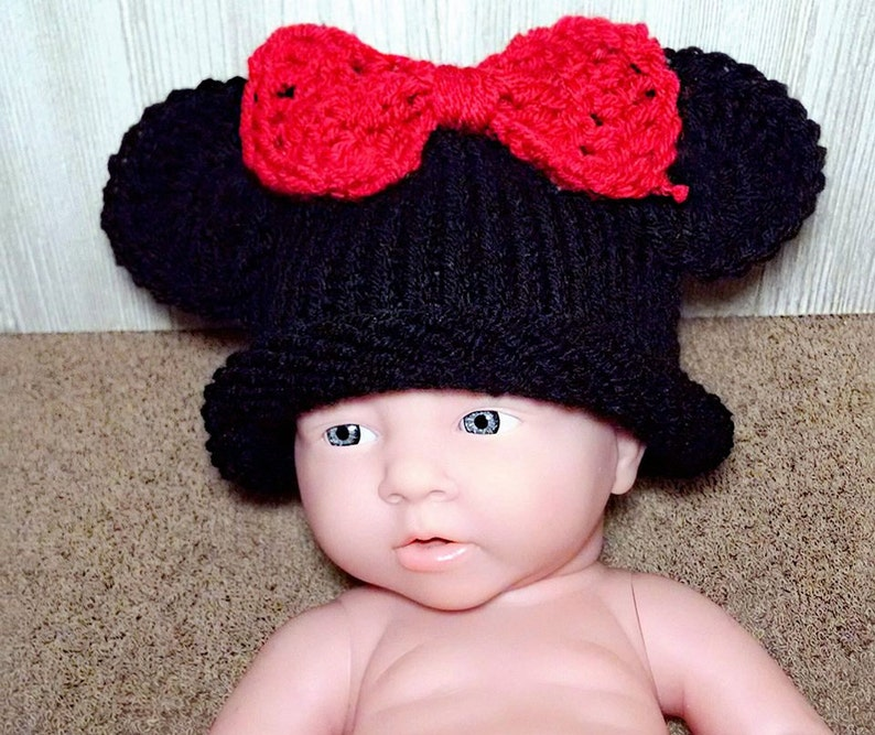 Minnie Mickey Mouse Crochet Knitting Cat Beanie Photo Cap For Toddler Baby Girls