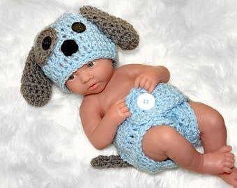 Newborn Photo Outfit, Newborn Boy Photo Outfit, Newborn Puppy Hat,  Baby Boy Puppy Outfit, Baby Boy Crochet Outfit, Newborn photo prop