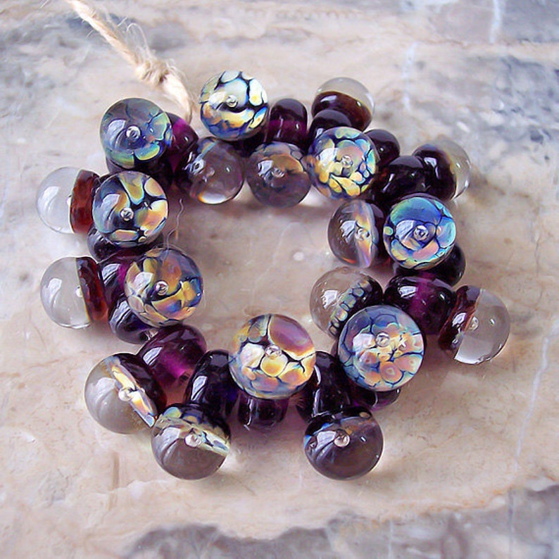 The world in a drop Handmade Lampwork Glass Drops Dark Violet Made to order. Raku 16-17 mm \u0445 9-10 mm Air Bubble Purple 10 pcs