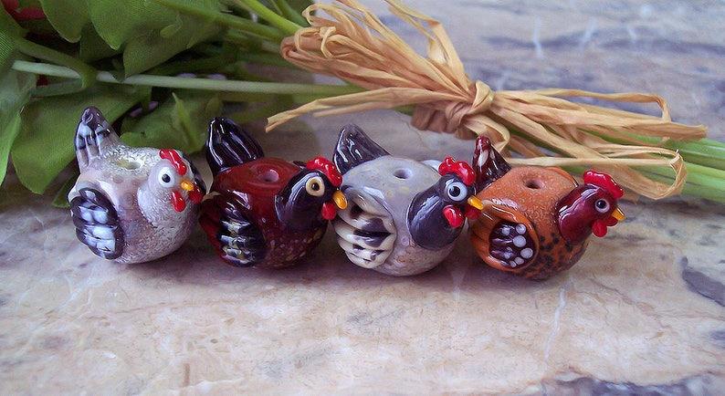 1 pc Light Grey Handmade Lampwork Glass Hen Made to order. Dark Grey - Brown Easter Theme Beads Lampwork Sculptured Hens Rufous
