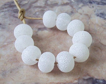 Snowballs. White Handmade Lampwork Spacers (10 pcs) 10 mm x 7-8 mm. White Enamel Lampwork Small Beads. Winter Glass Beads.