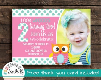 Owl birthday invite etsy printable owl birthday invitation look whos turning two party invite with free thank you card filmwisefo