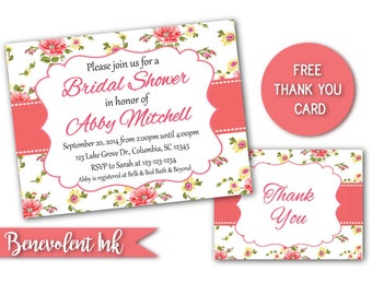 printable bridal shower invitation floral wedding shower invite cottage chic invitation with free thank you card