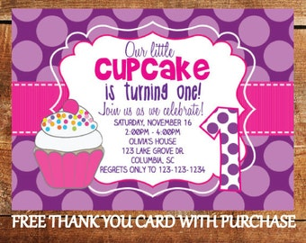 Cupcake birthday party cupcake invitation first birthday etsy first birthday cupcake invitation 1st birthday girl party invite with free thank you card filmwisefo