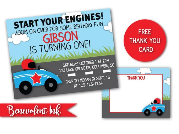 First Birthday Race Car Theme Party Invitation Printable 1st