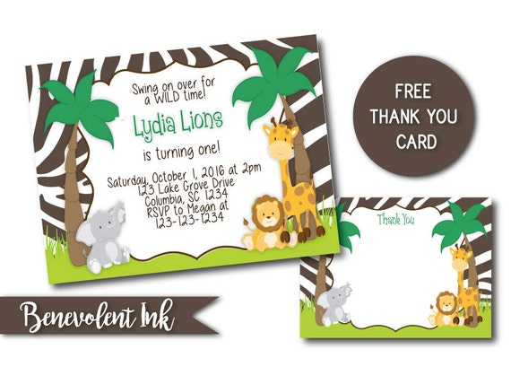 Safari First Birthday Invitation Jungle Theme 1st Birthday Etsy