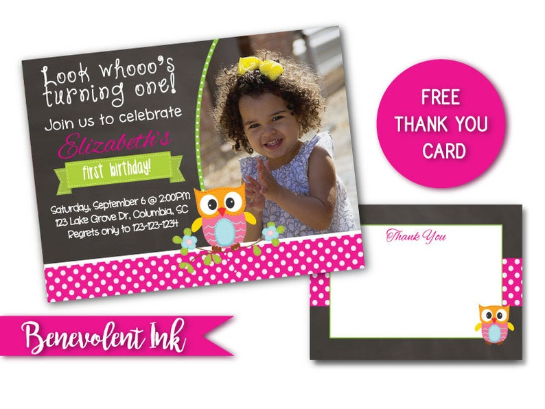 Owl First Birthday Invitation Theme 1st Party