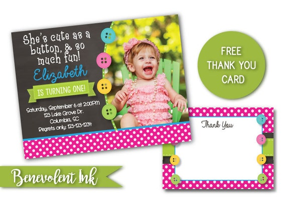 Cute as a button first birthday invitation printable 1st etsy image 0 filmwisefo