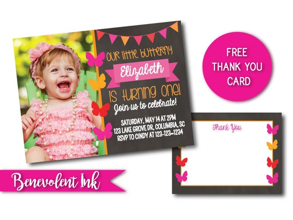 Butterfly First Birthday Invitation Printable 1st