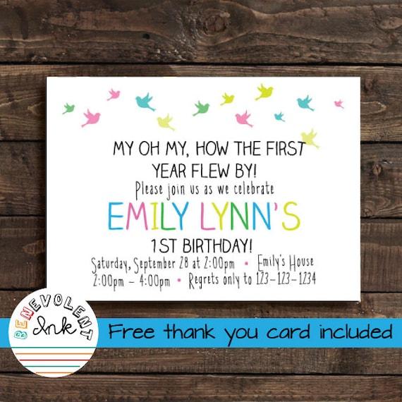 first birthday girl invitation printable bird theme 1st etsy