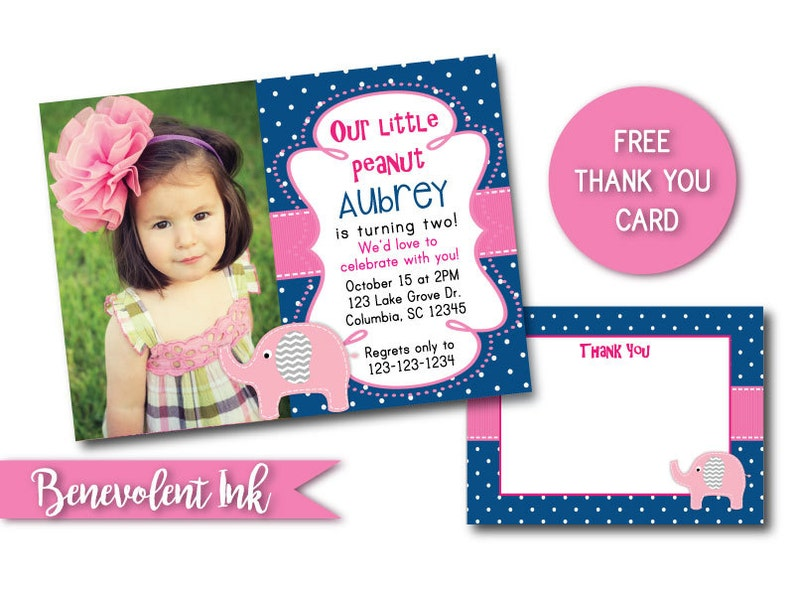 Elephant Second Birthday Party Invitation Theme 2nd