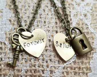 7d18638946 Forever and Always Necklace Set - Lock and Key Necklaces - Couples Jewelry  - Friendship Necklaces - Valentines Day Gift